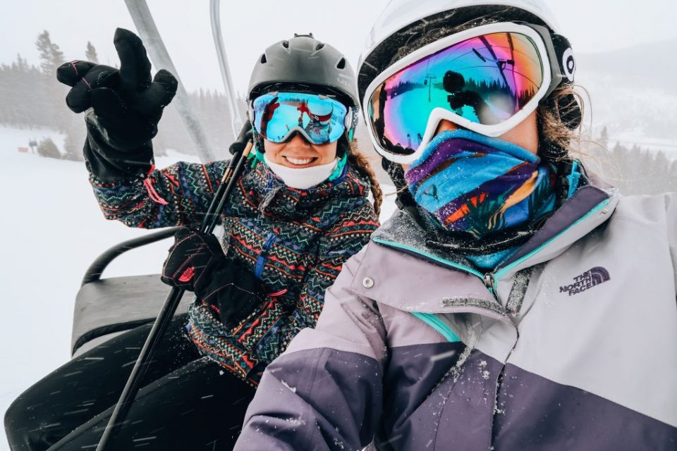 happy snowboarding group